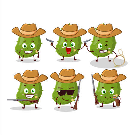 Cool cowboy virus desease cartoon character with a cute hat