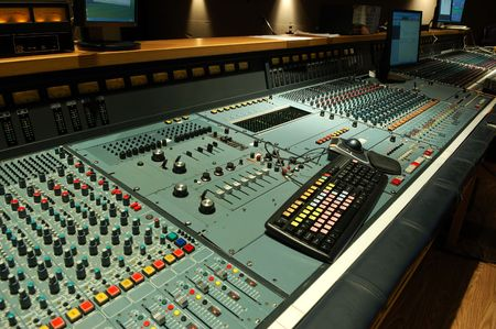computerize: mixing console in studio