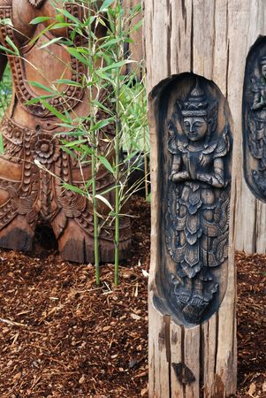 apsara: Apsara figures, celestial dancers decorated in garden