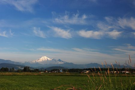 mt. baker and farm field