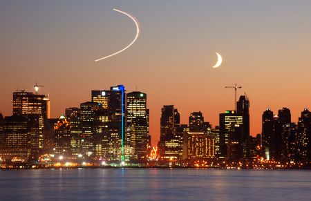 crescent moon in downtown vancouver photo