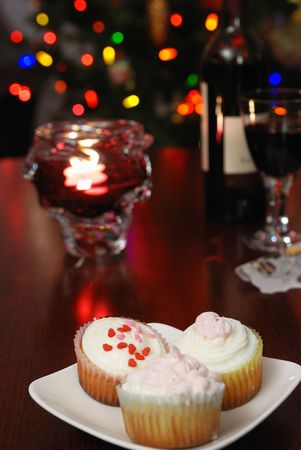 cup cake and christmas lights Stock Photo - 3403164