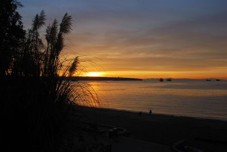 sunset at english bay, vancouver photo