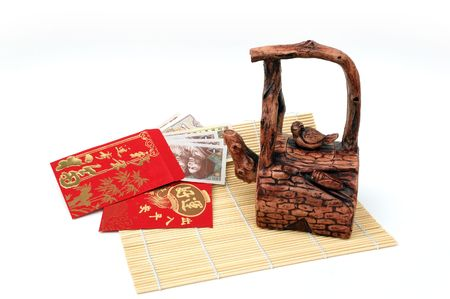 chinese tea pot and lucky money photo