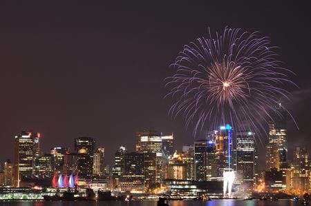 fireworks in downtown vancouver Stock Photo