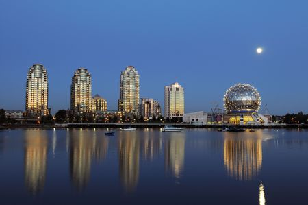 science world dome and moonrise, vancouver Stock Photo - 3623614