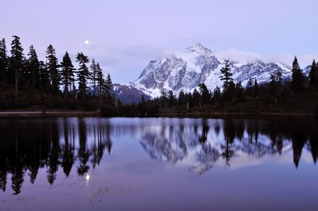 moonrise at picture lake and mount shuksan photo