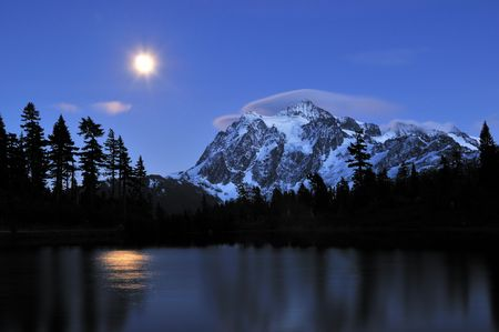 moonrise at picture lake and mount shuksan photo