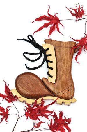 woodcraft: Woodcraft winter boot and dry maple leaves