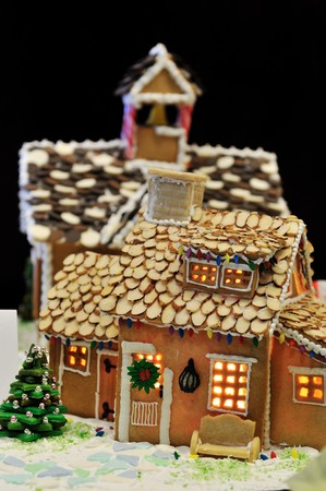 Gingerbread house with almond flake roof