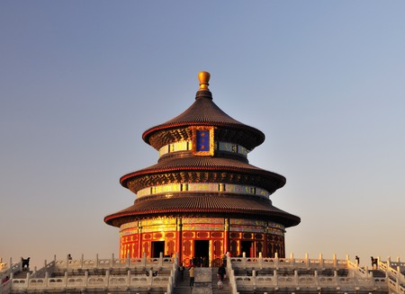 temple of heaven: The Hall of Prayer for Good Harvests in the Temple of Heaven in Beijing Stock Photo