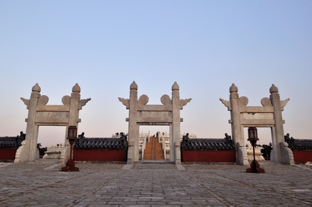 white marble: White marble gate in The Temple of Heaven in Beijing