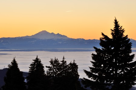mt. baker viewed from mount Seymour at sunrise