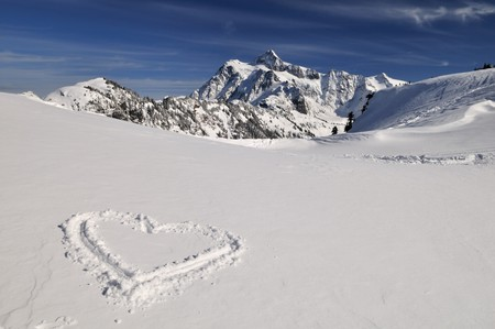 Mount Shuksan and a heart shape trace in foreground photo