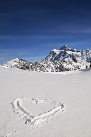 Mount Shuksan and a heart shape trace in foreground Stock Photo - 4463566