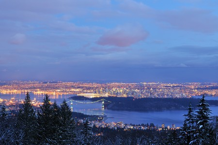 port stanley: Downtown Vancouver and lions gate bridge viewed from cypress mountain Stock Photo