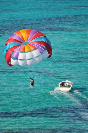 bahamas: parasailing over the Caribbean sea Stock Photo