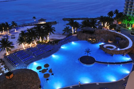 Resort by the Caribbean sea at night