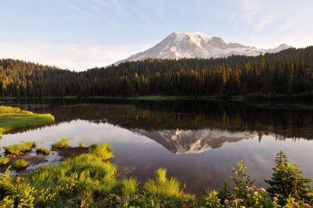 mt rainier: Mt. Rainier and Reflection Lake at sunrise