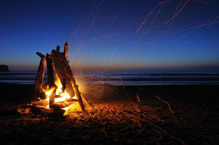 wood burning: Campfire on shi shi beach in Olympic national park