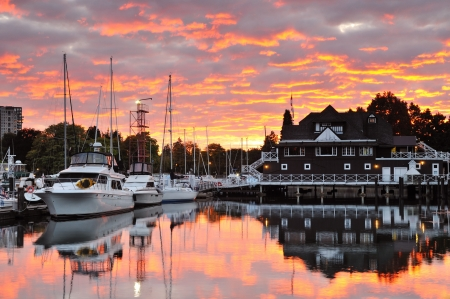 yacht club: Sunset Clouds over Vancouver Rowing Club in Stanley Park Stock Photo