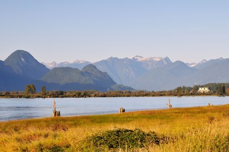 fraser river: pitt river with mountain in background