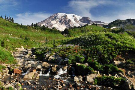 mt rainier: Mt. Rainier and myrtle falls in summer Stock Photo