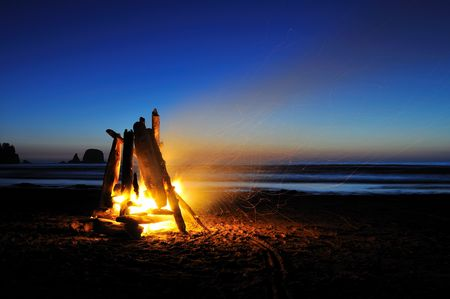campfire on shi shi beach, olympic national park photo