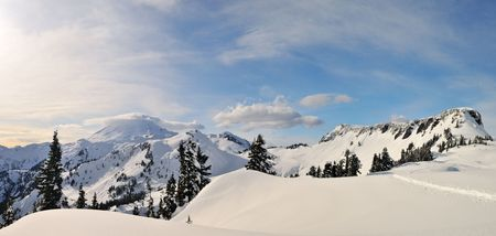mount baker: mt baker peak and table mountain, panoramic shot Stock Photo