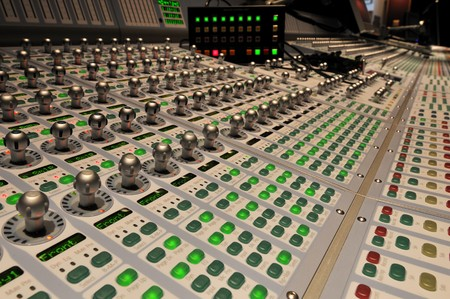 audio post production mixing console with control box photo