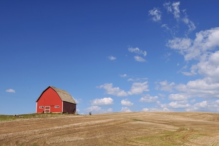 palouse: Red Barn in Palouse farmland field with blue sky