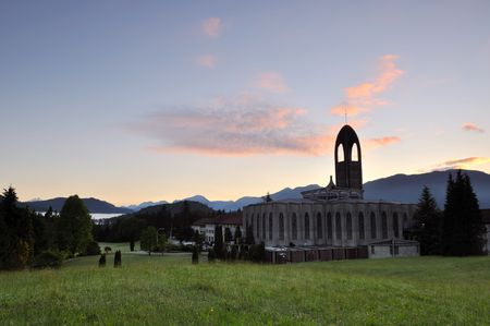 Westminster abbey at sunrise, mission, british columbia photo