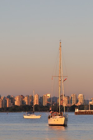 Downtown Vancouver at sunset, viewed from Spanish Bay photo