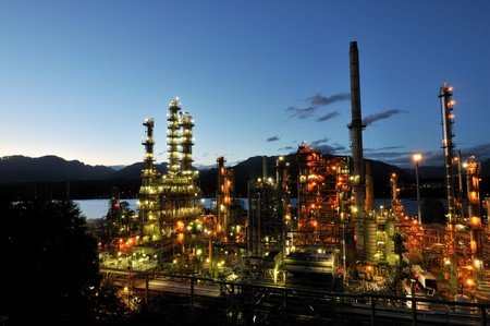 Oil refinery at night, Burnaby, British Columbia, Canada