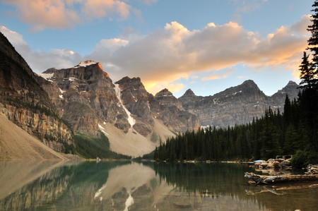 Moraine Lake Sunset, Bank National Park, Alberta, Canada photo