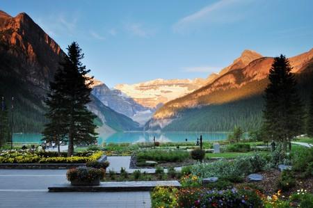 Lake Louise, Banff National Park in Alberta Canada Stock Photo