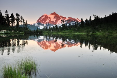 mt shuksan and picture lake at sunset, Mt. Baker-Snoqualmie National Forest photo