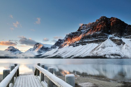 Bow Lake sunrise, Banff National Park in Alberta