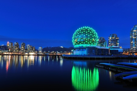 Vancouver Science World at Christmas time with green lights