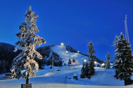グラウス山、バンクーバー、ブリティッシュ コロンビア州の冬 写真素材