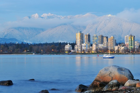 vancouver cityscape with grouse mountain in background  Stock Photo