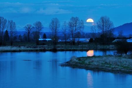 wetlands: Alouette River Moonrise, Pitt Meadows, British Columbia