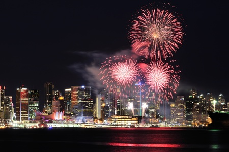 Canada Day celebration fireworks in Downtown Vancouver Stock Photo - 9862792