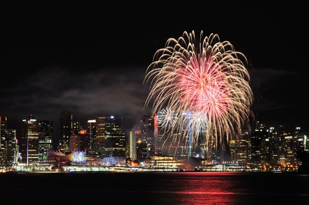 first day: Canada Day celebration fireworks in Downtown Vancouver