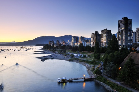 Summer sunset at English Bay, Vancouver, BC Stock Photo