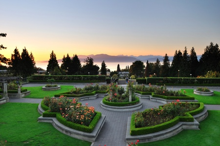 vancouver island:  rose garden at sunset, University of British Columbia