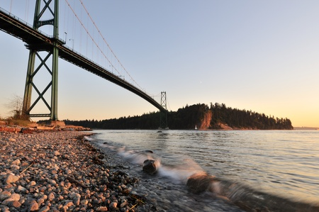 moon gate: Lions Gate Bridge at sunset with crescent moon