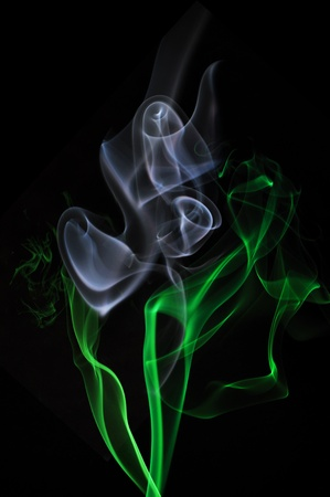 Incense Smoke Abstract flower bouquet on black background
