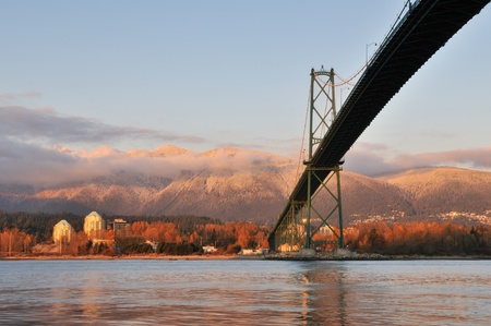 Lions Gate Bridge and north shore, viewed from Stanley Park Stock Photo