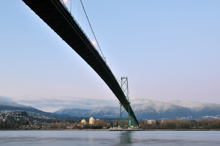 north gate: Lions Gate Bridge and north shore, viewed from Stanley Park Stock Photo